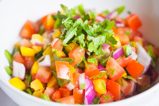 colorful pico de gallo salsa
